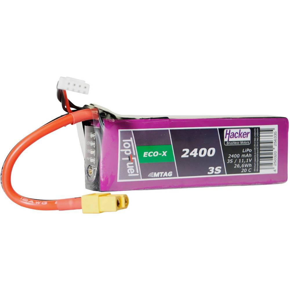 Hacker LiPo akumulatorski paket za modele 11.1 V 2400 mAh Število celic: 3 20 C Mehka torba XT60