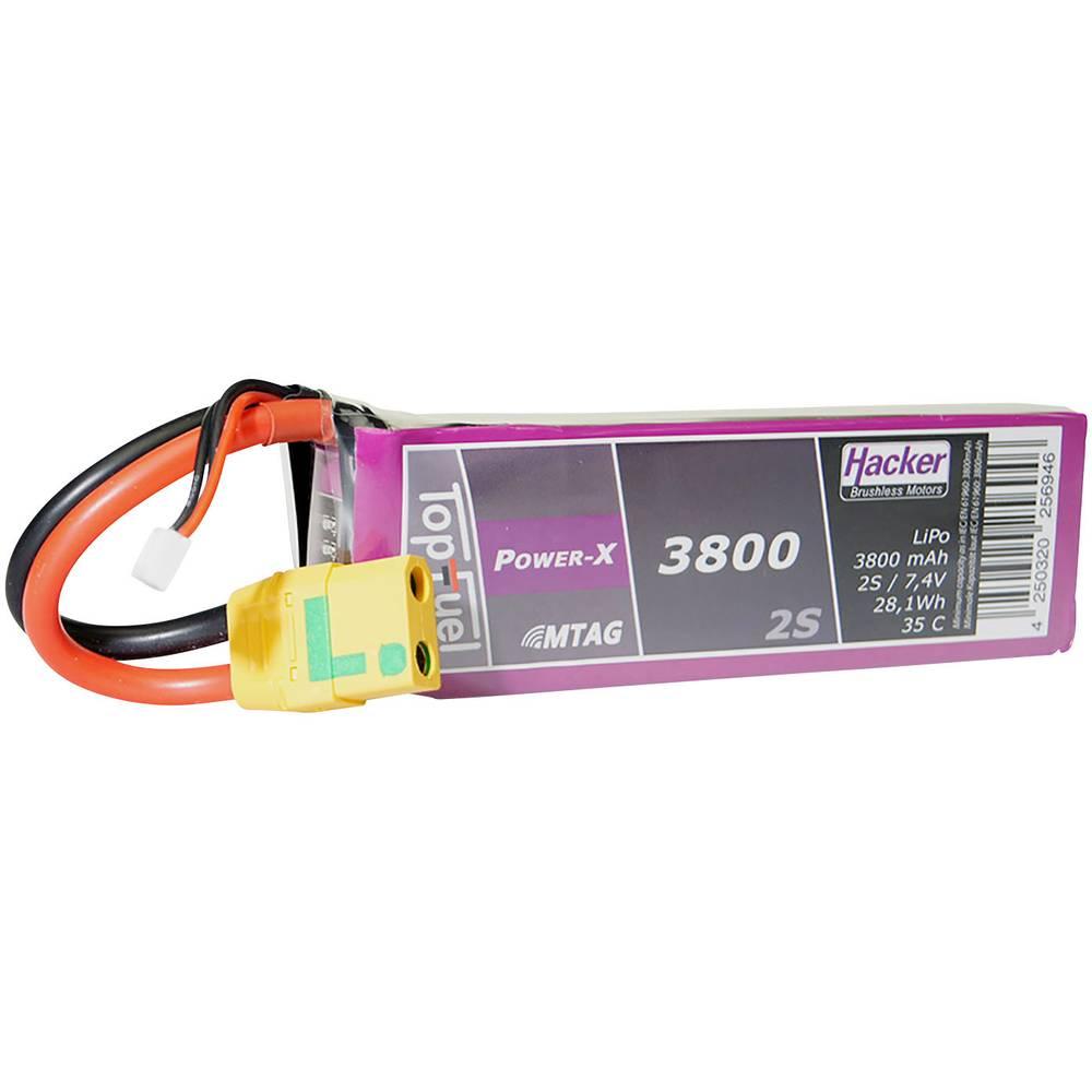 Hacker lipo akumulatorski paket za modele 7.4 V 3800 mAh Število celic: 2 35 C mehka torba xt90