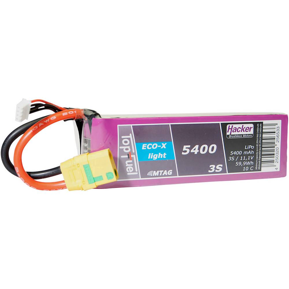 Hacker lipo akumulatorski paket za modele 11.1 V 5400 mAh Število celic: 3 10 C mehka torba xt90