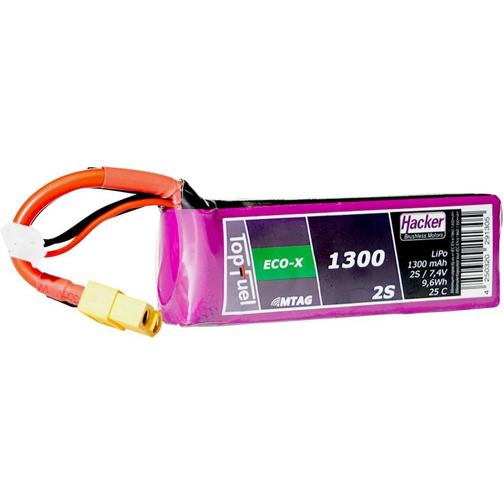Hacker lipo akumulatorski paket za modele 7.4 V 1300 mAh Število celic: 2 25 C mehka torba xt60