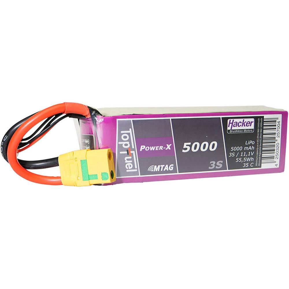 Hacker lipo akumulatorski paket za modele 11.1 V 5000 mAh Število celic: 3 35 C mehka torba xt90