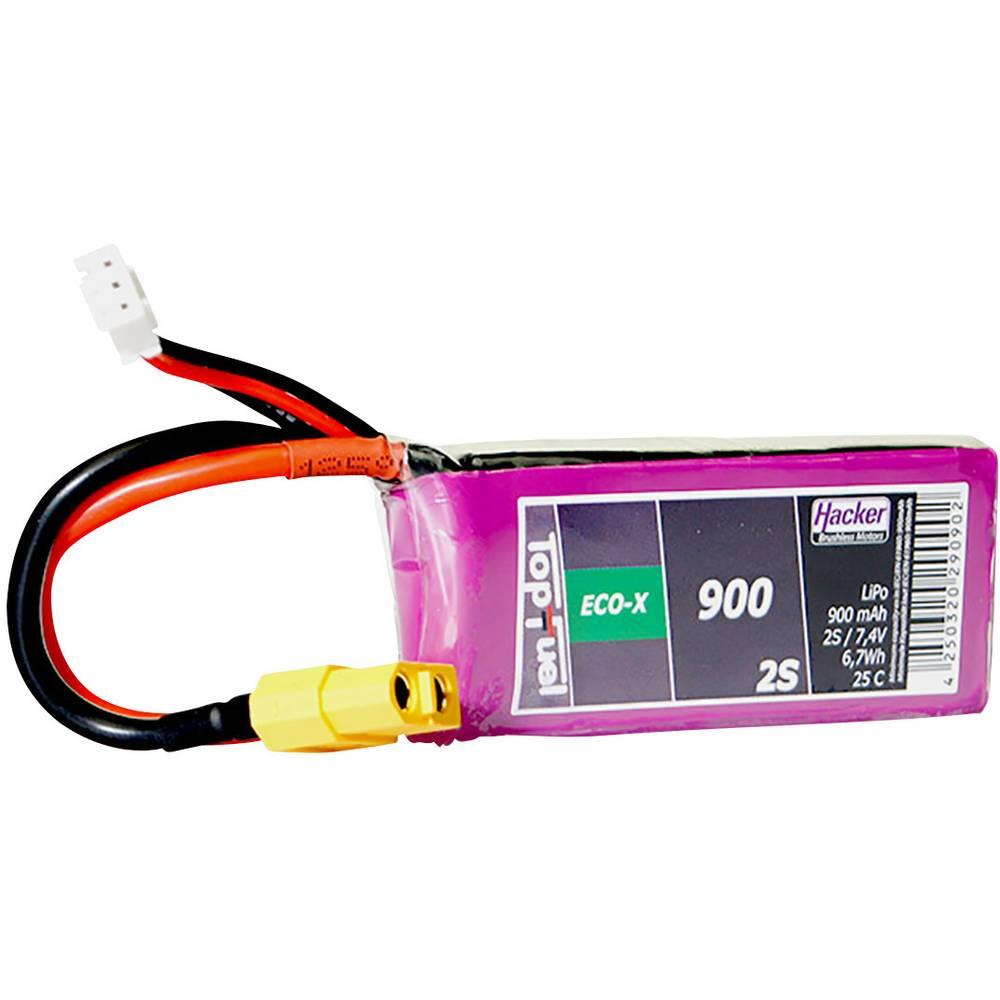 Hacker LiPo akumulatorski paket za modele 7.4 V 900 mAh Število celic: 2 25 C Mehka torba XT60