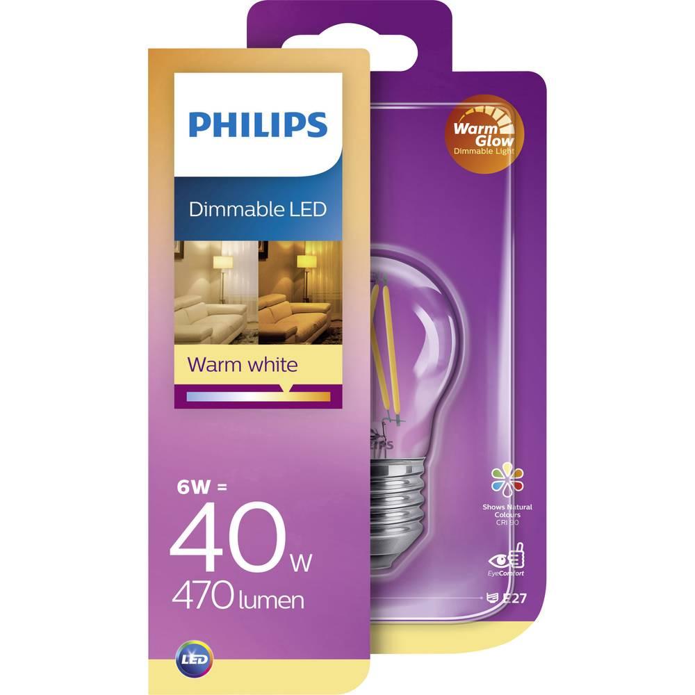 Philips LED EEK A+ (A++ - E) E27 Oblika kaplje 6 W = 40 W Toplo bela (Ø x D) 4.5 cm x 4.5 cm Zatemnilna (WarmGlow) 1 KOS
