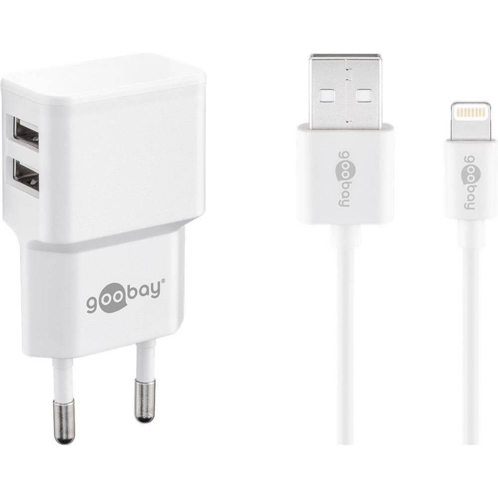 Goobay Apple Lightning Dual Ladeset 2,4 A 44979 USB napajalnik Vtičnica Izhodni tok maks. 2.4 A 2 x Ženski konektor USB 2.0 tipa