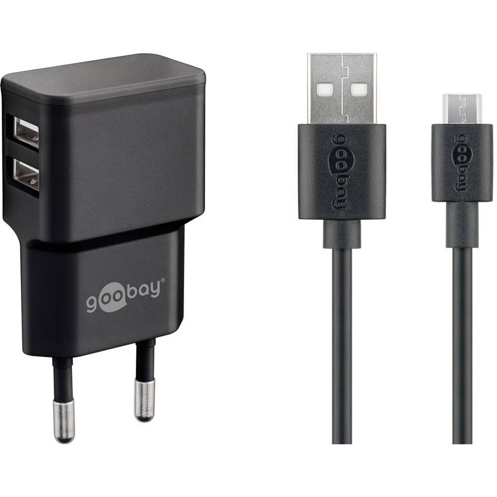 Goobay Micro USB Dual Ladeset 2,4 A 44984 Ultra linearni modul Vtičnica Izhodni tok maks. 2.4 A 2 x Ženski konektor USB 2.0 tipa