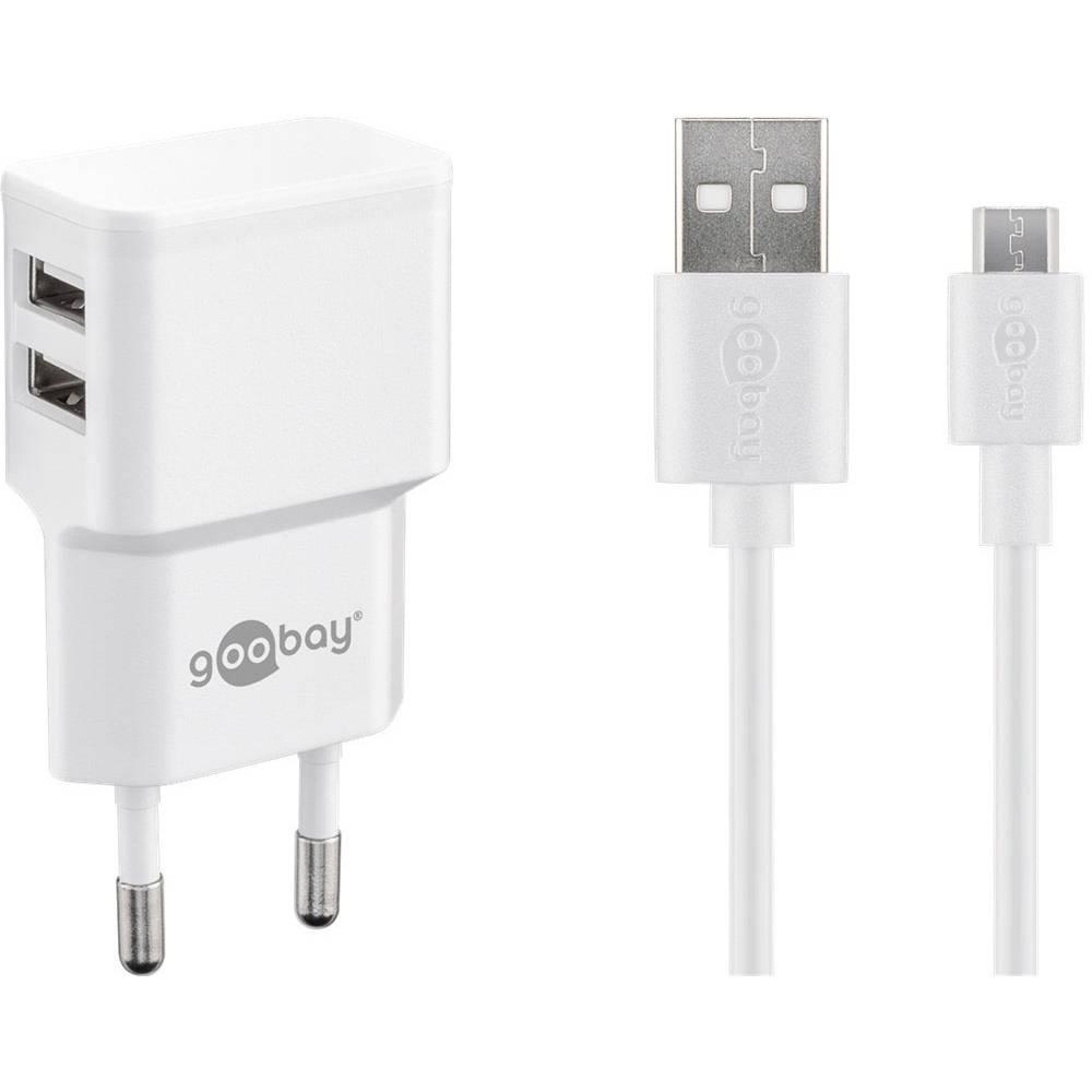 Goobay Micro USB Dual Ladeset 2,4 A 44985 USB napajalnik Vtičnica Izhodni tok maks. 2.4 2 x Ženski konektor USB 2.0 tipa A, Žens