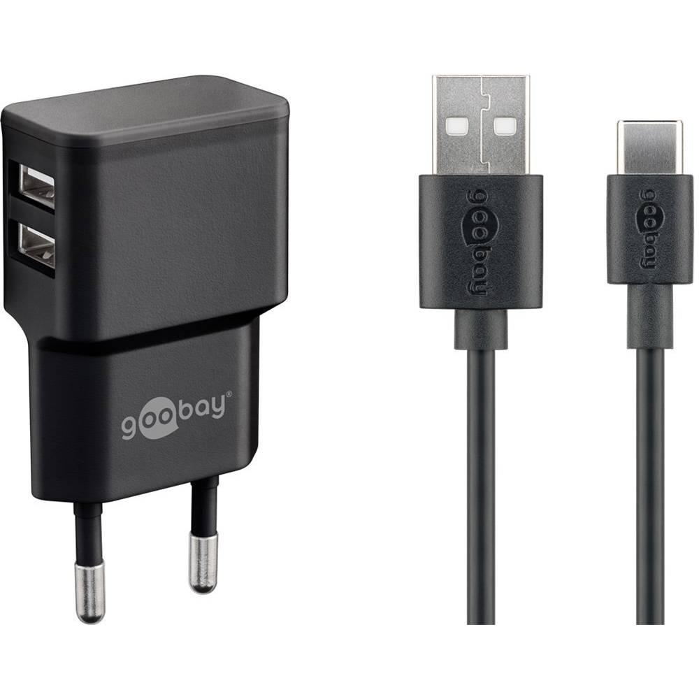 Goobay USB-C™ Dual Ladeset 2,4 A 44986 USB napajalnik Vtičnica Izhodni tok maks. 2.4 A 2 x Ženski konektor USB 2.0 tipa A,