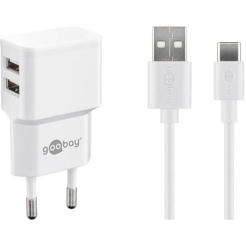 Goobay USB-C™ Dual Ladeset 2,4 A 44987 USB napajalnik Vtičnica Izhodni tok maks. 2.4 2 x Ženski konektor USB 2.0 tipa A, Ž