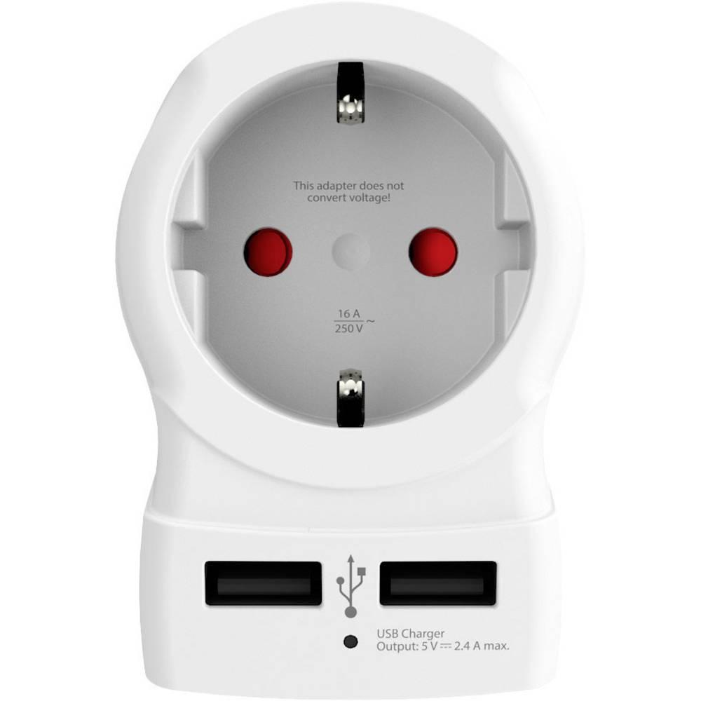 Skross 1500280 Adapter Vtičnica 2 x USB Z adapterjem za VB