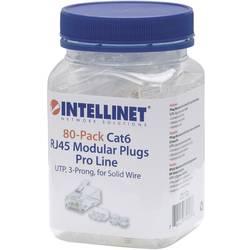 Intellinet 80-paketni modularni konektor Cat6 RJ45 Pro Line UTP 3-točkovni žilni kontakt za trde žice 80 konektorjev v skodelici