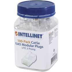 Intellinet 100-pack Cat5e RJ45 modularni vtič UTP 3-točkovni kontakt žice za trdno žico 100 čepov na skodelico crimp kontakt tra