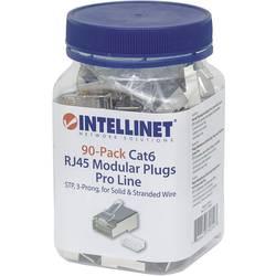 Intellinet 90-pack Cat6 RJ45 modularni konektor Pro Line STP 3-točkovni žilni kontakt za nasedle in trde žice 90 konektorjev v s
