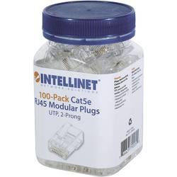 Intellinet 100 paket Cat5e RJ45 modularni vtič UTP 2-točkovni kontakt žice za nasedle žice 100 čepov na skodelico crimp kontakt