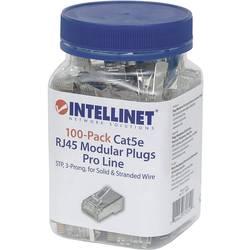 Intellinet 100-paketni modularni konektor Cat5e RJ45 Pro Line STP 3-točkovni žični priključek za nasedle in trde žice 100 konekt