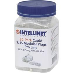 Intellinet 80-pack Cat6A RJ45 modularni konektor Pro Line UTP 3-točkovni kabelski kabel za trde žice 80 konektorjev v skodelici