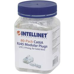 Intellinet 80-pack Cat6A RJ45 modularni konektor UTP 3-točkovni kontakt za žico za konektor iz trde žice 80 v skodelici crimp ko