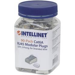 Intellinet 90-pack Cat6A RJ45 modularni vtič STP 2-točkovni kontakt žice za nasedlo žico 90 vtič v skodelici crimp kontakt srebr