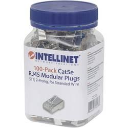 Intellinet 100-pack Cat5e RJ45 modularni vtič STP dvotočkovni kontakt žice za nasedle žice 100 čepov na skodelico crimp kontakt