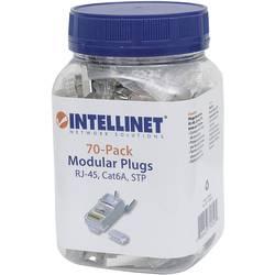 Intellinet 70-paketni modularni konektor Cat6A RJ45 Pro Line STP 3-točkovni žični kontakt za nasedle in trde žice 70 konektorjev