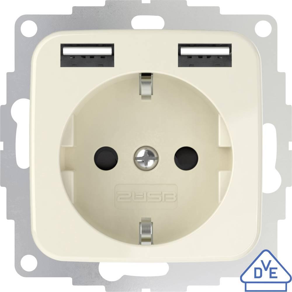 2USB 2U-449399 podometna vtičnica z USB kremno bela