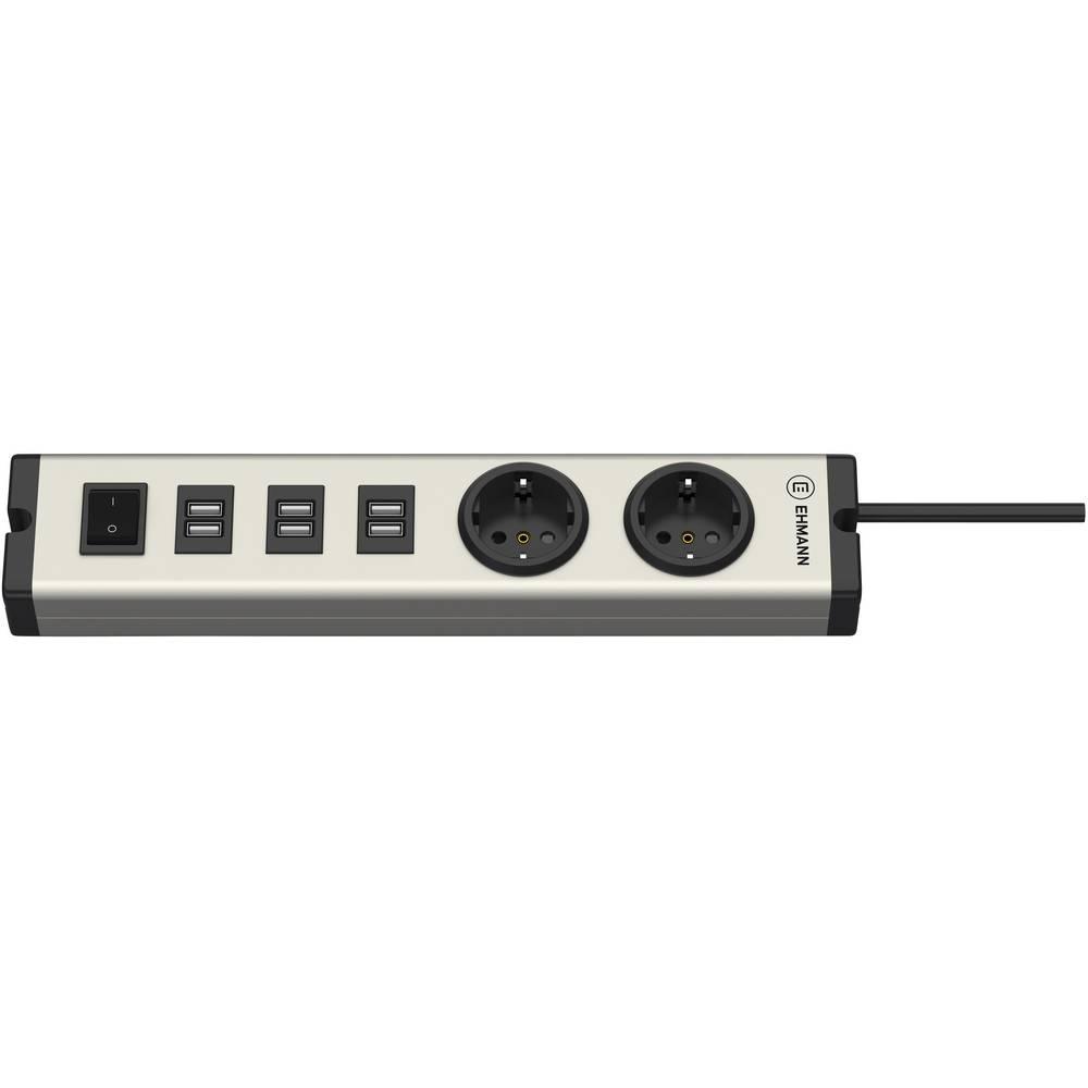 Ehmann 0601x0a02203303 USB napajalnik Vtičnica 6 x, 2 x USB, Varnostna vtičnica