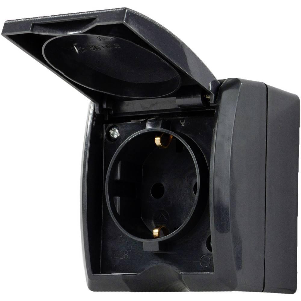 REV 0007031900 nadometna vtičnica ip44 črna