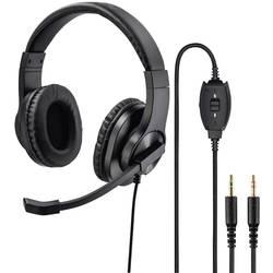 pc naglavne slušalice sa mikrofonom 3,5 mm priključak stereo, sa vrpcom Hama HS-P300 na ušima crna
