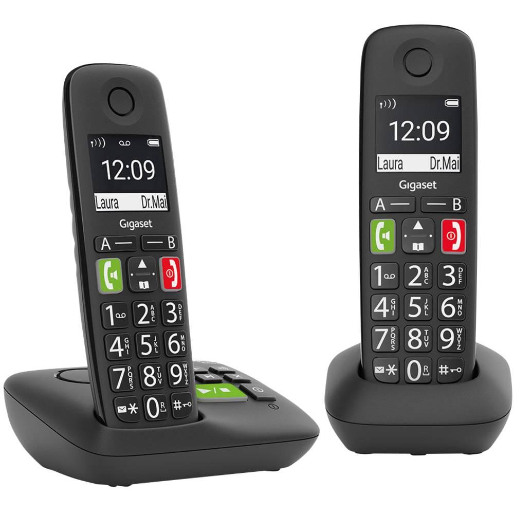 Gigaset E290A Duo mit Anrufbeantworter DECT telefonska slušalka Črna
