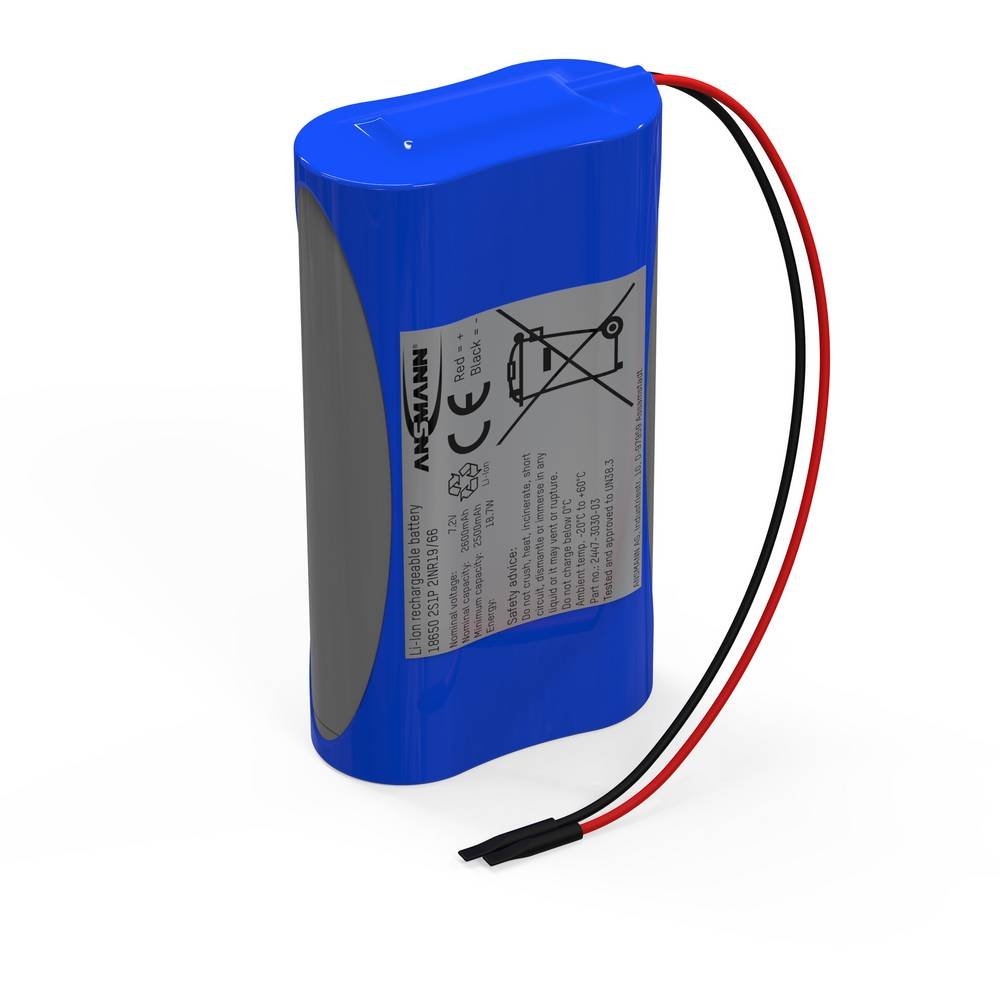 aku paket 2x18650 kabel li-ion Ansmann 2S1P 7.4 V 2600 mAh