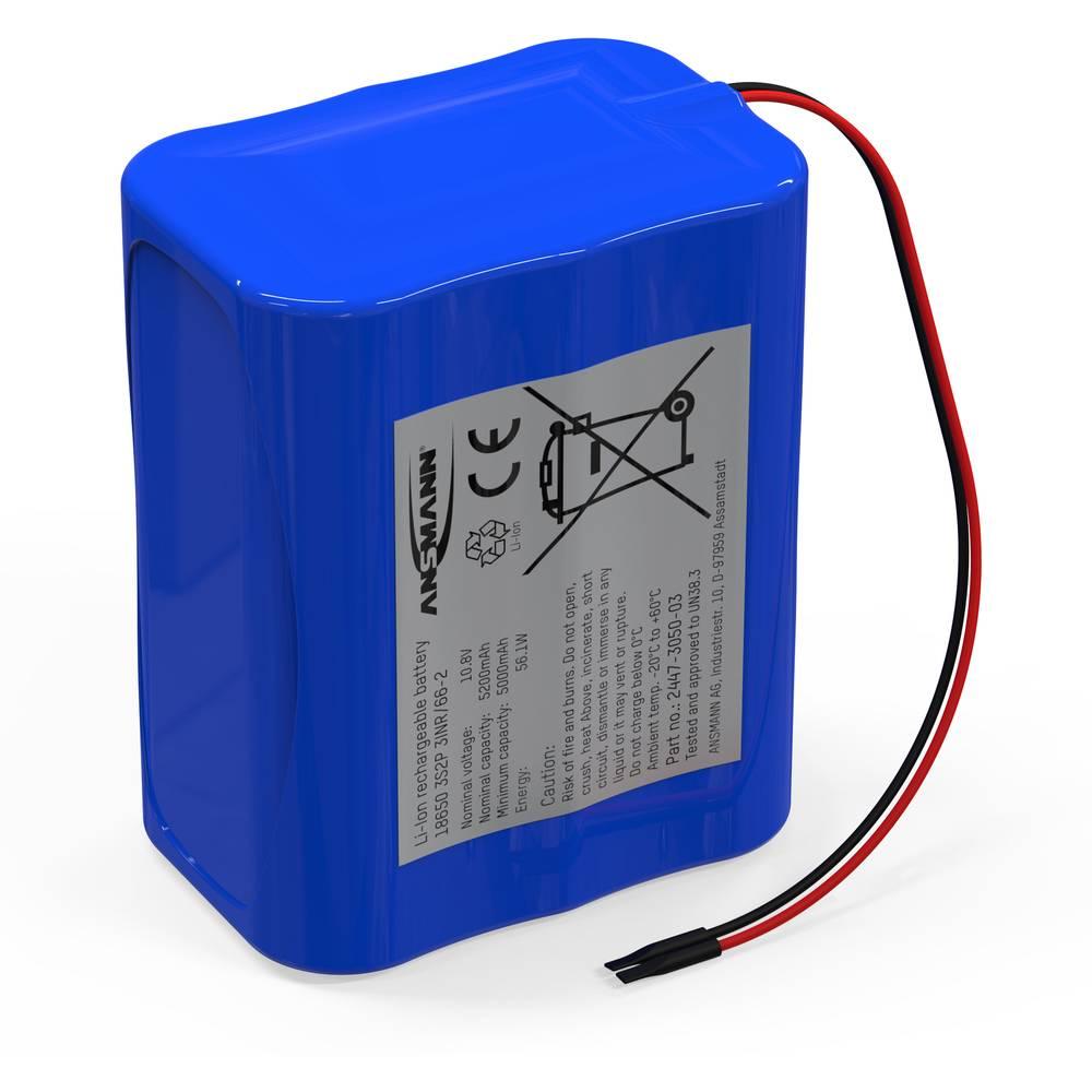 aku paket 6x18650 kabel li-ion Ansmann 3S2P 11.1 V 5200 mAh
