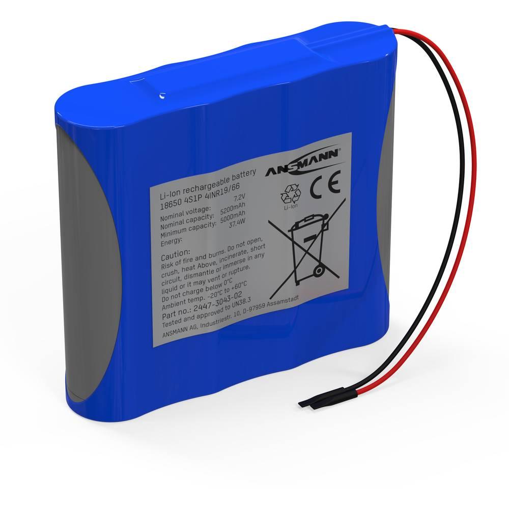 Ansmann 2S2P aku paket 4x 18650 kabel li-ion 7.4 V 5200 mAh