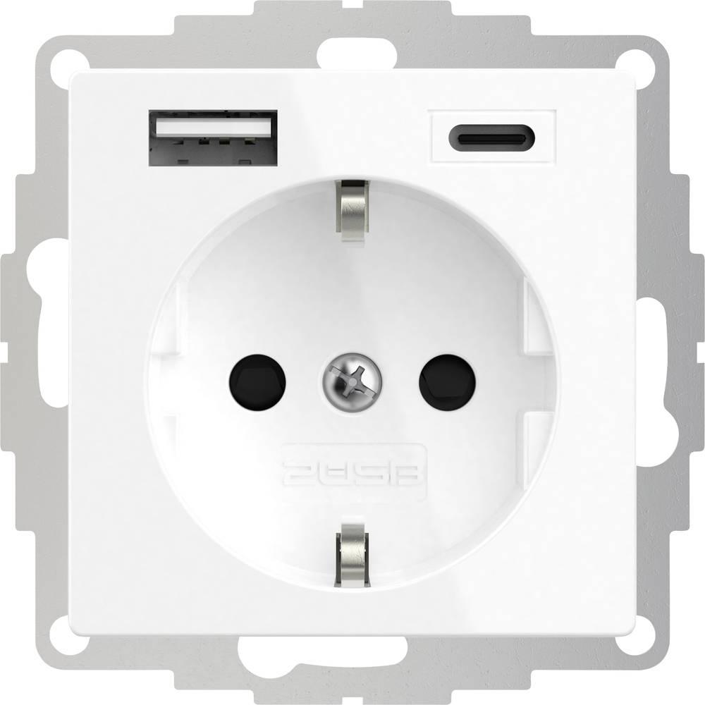 2USB 2U-449511 1 kratni zaščitna kontaktna vtičnica z izhodom za USB polnjenje, otroška zaščita, vde ip20 čista bela