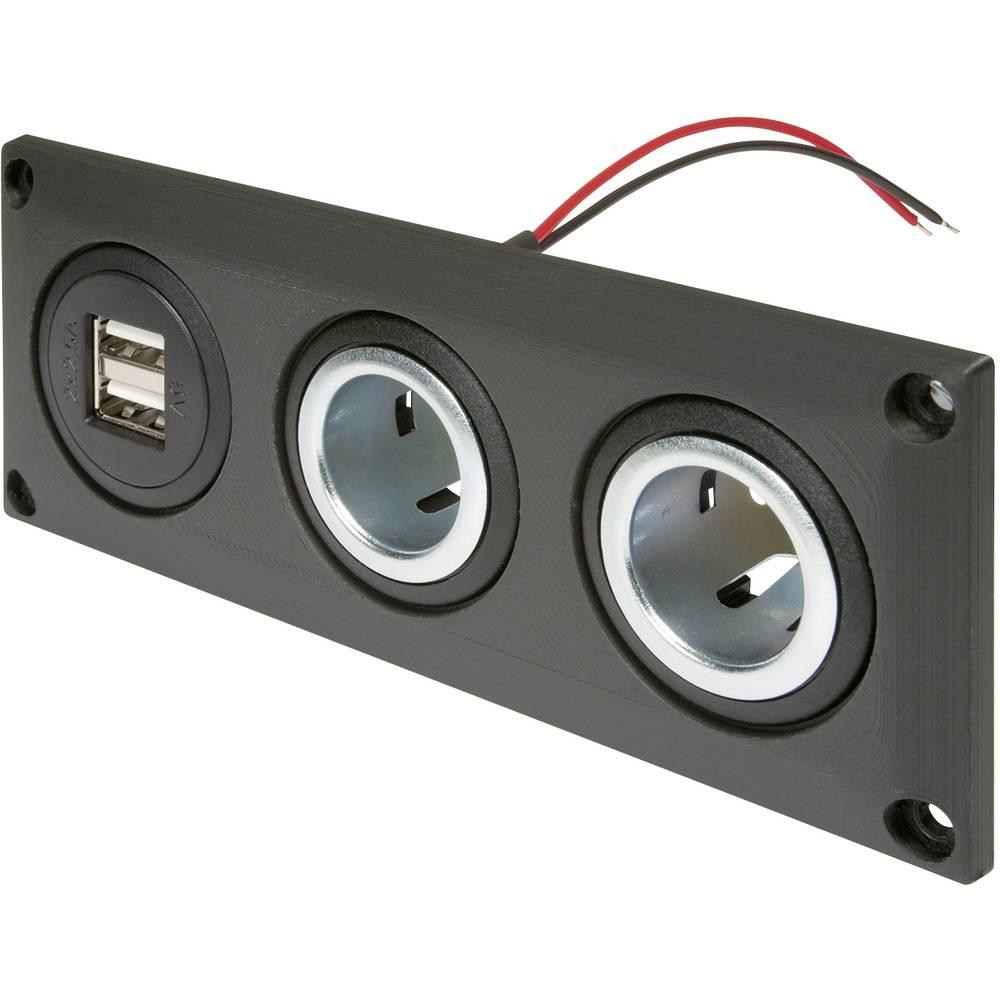 ProCar Vgrajena vtičnica z USB-A dvojno vtičnico + 2 napajalni vtičnici Maks. obremenljivost toka=20 A