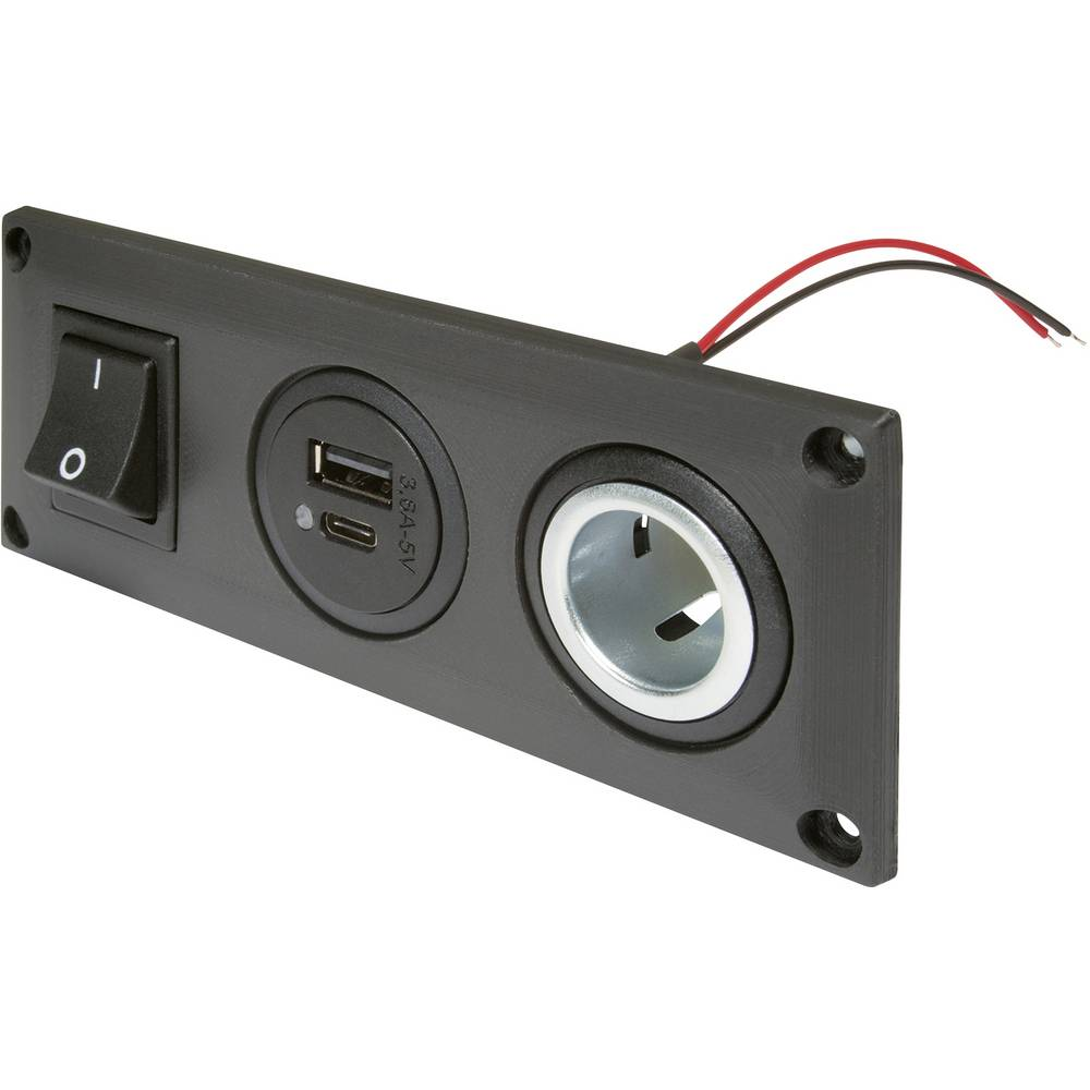 ProCar Vgrajena vtičnica z USB-C / Dvojno vtičnico s stikalom + 1 vtičnica Maks. obremenljivost toka=20 A