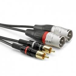 Hicon HBP-M2C2-0300 avdio adapter cable [2x moški cinch konektor - 2x XLR vtič 3-polni] 3.00 m črna