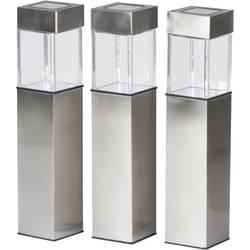 Solcelle-udendørsstanderbelysning Grundig LED Varm hvid Sølv