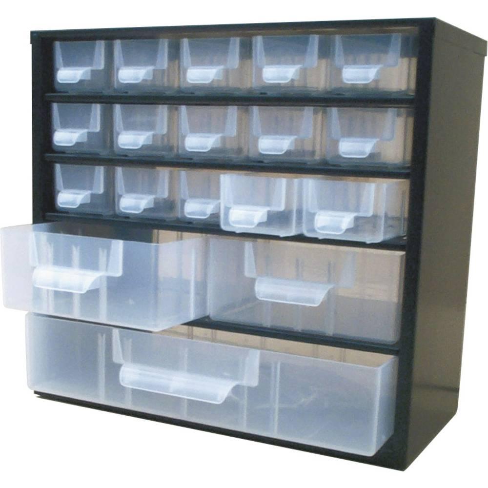 Sortirni predalnik za delavnico (D x Š x V) 310 x 155 x 285 mm VISO št. predalov: 18 fiksna pregraditev