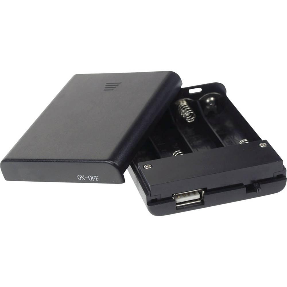 Velleman BH341USB baterijska škatla 4xmignon (aa) (D x Š x V) 60 x 20 x 80 mm