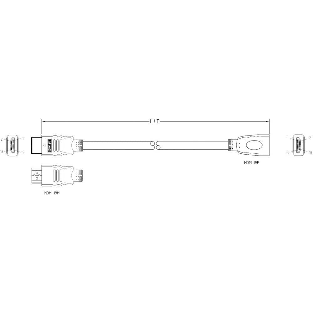 HDMI produžni kabel [1x HDMI-utikač 1x HDMI-utikač] 1 m crn
