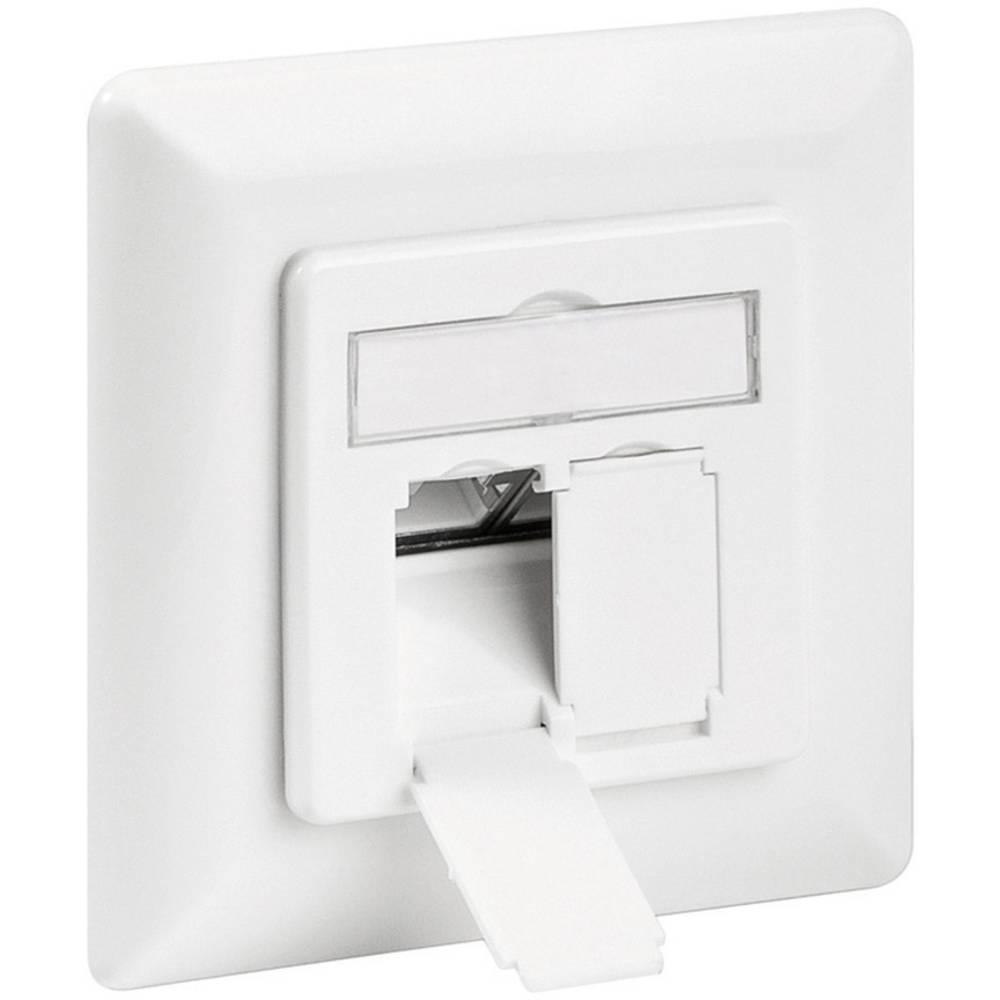 Omrežna vtičnica s podometnim vložkom s centralno ploščo in okvirjem CAT 6A 2 Port Goobay bela 68721