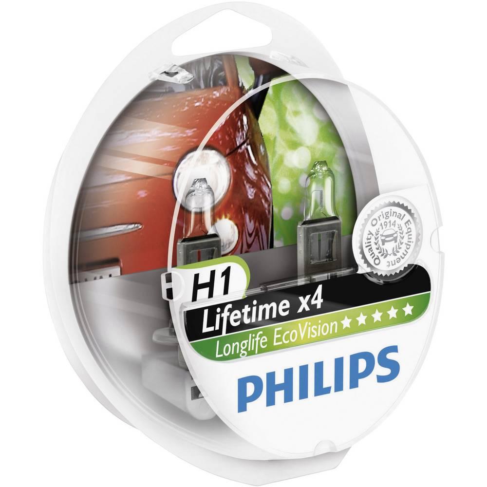Avtomobilska žarnica Philips Longlife Ecovision, H1, 12 V, 1 kos, P14.5s, prozorna 36196430