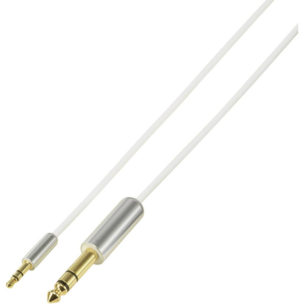 SpeaKa Professional-JACK audio priključni kabel [1x JACK utikač 6.35 mm - 1x JACK utikač 3.5 mm] 0.50 m bijeli SuperSoft, pozlaćeni kontakt