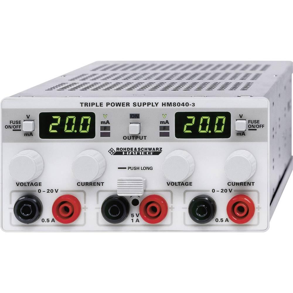 Laboratorijski naponski uređaj, podesivi Hameg HM8040-3 0 - 20 V/DC 0 - 0.5 A 25 W broj izlaza 3 x