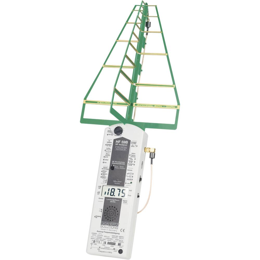 Gigahertz HFE 59B Visoka frekvenca (VF)-analizator, merilnikelektrosmoga 27 MHz - 3,3 GHz Gigahertz Solutions