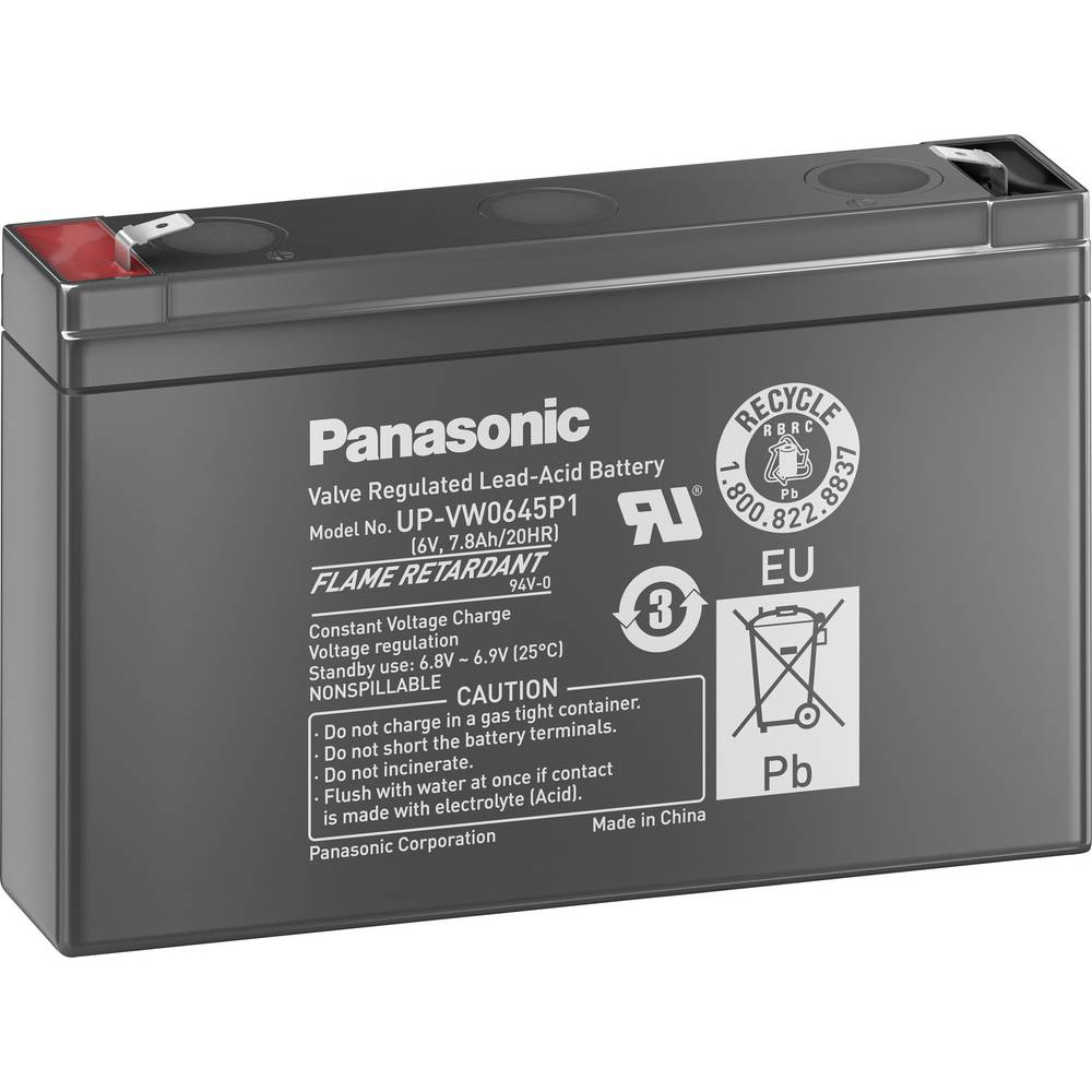 Olovni akumulator 6 V 7.8 Ah Panasonic Plomb 6V 7,5 Ah UP-VW0645P1 olovno-koprenasti (AGM) (Š x V x D) 150 x 94 x 34 mm plosnati