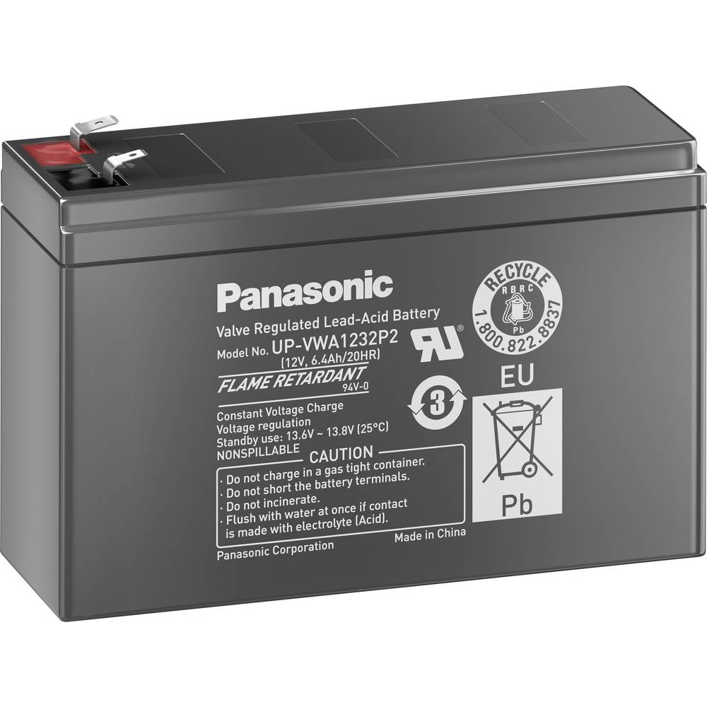 Olovni akumulator 12 V 2.6 Ah Panasonic UP-VWA1232P2 olovno-koprenasti (AGM) (Š x V x D) 151 x 94 x 51 mm plosnati utikač 6.35 m