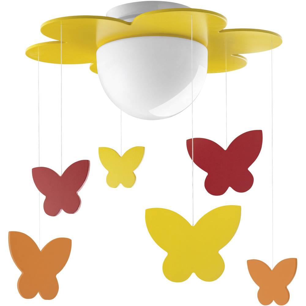 Stropna svjetiljka, leptiri, štedna žarulja E27 15 W Philips Lighting Meria žuta, narančasta