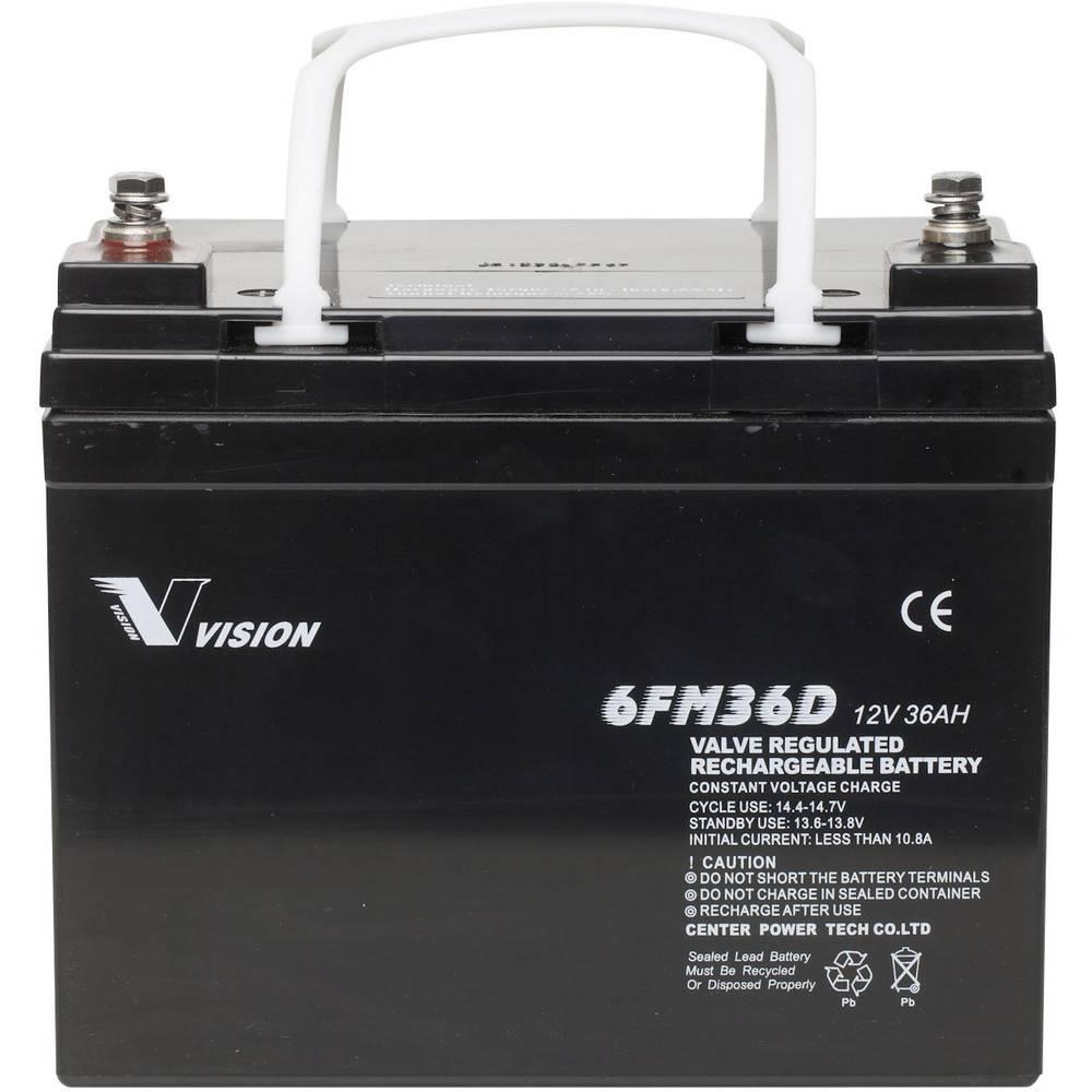 Solarni akumulator 12 V 36 Ah Vision Akkus 6FM36DX olovno-koprenasti (AGM) (Š x V x D) 195 x 155 x 130 mm M6-vijčani priključak