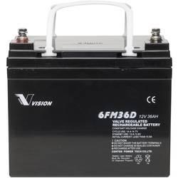 Solarni akumulator 12 V 36 Ah Vision Akkus 6FM36DX svinčevo-koprenast (AGM) 195 x 155 x 130 mm M6-vijačni priklop