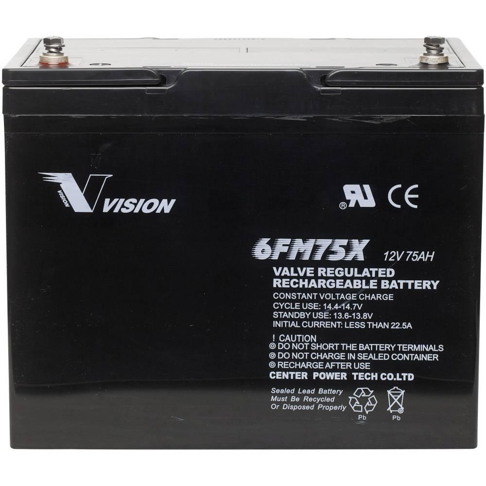 Solarni akumulator 12 V 75 Ah Vision Akkus 6FM75TX olovno-koprenasti (AGM) (Š x V x D) 258 x 206 x 166 mm M6-vijčani priključak